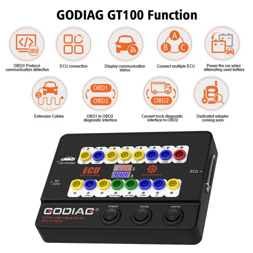 Godiag GT100+ GT100 Pro OBDII Breakout Box ECU Bench Connector with Electronic Current Display