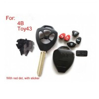 Remote Key Shell 4 Button (with red dot) For Toyota 5pcs/lot