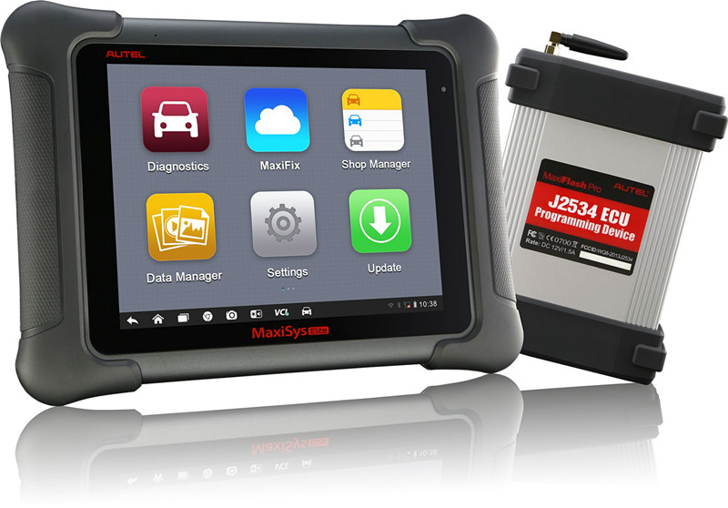 autel maxisys elite with j2534 ecu programming device display
