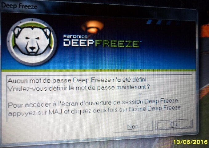 Il request le mot de passe de Deep freeze is pas definition