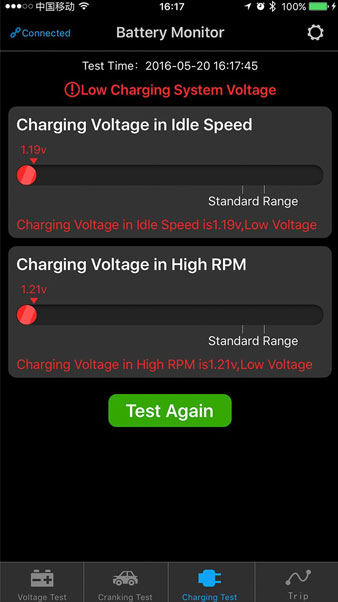 battery monitor change voltage in high rpm
